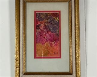 "MIXED MEDIA ART | Colorful abstract, signed bottom right ""Neil""; 7 x 3-1/4 in.; 13-1/2 x 9-1/2 in. (framed)"