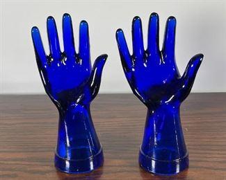 PAIR COBALT GLASS HANDS   8-1/2 in.