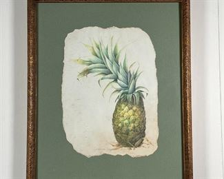 CORINNE LAPIN-COHEN PINEAPPLE | Mixed media on paper with torn edges, pencil signed; 13 x 9 in. (sheet); 18 x 15-1/2 in. (framed)
