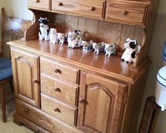 Kitchen Oak Cabinet and Cow Creamers