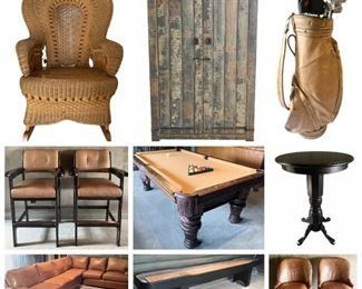 Wonderful Leather & Wood Furniture, Pool Table, Shuffleboard, Dining Set, Rustic Cabinet, Bar Stools, Cantoni Sofa, Patio Furniture, Plants, Woman's Clothes & Shoes, Etc.