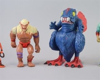 """1Grouping of Thundercats FiguresA grouping of four Thundercats action figures, including three Thundercat characters and one large figure known as """"Astralmoat"""", a rare piece. All good condition with some cosmetic loss. Astralmoat is missing a wing."""