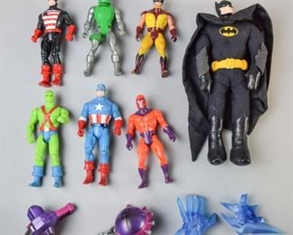 11Grouping of DC and Marvel Action FiguresA grouping of DC and Marvel action figures, circa late 1980's-early 1990's. Figures of interest include Wolverine, Captain America, and Batman. Good condition.