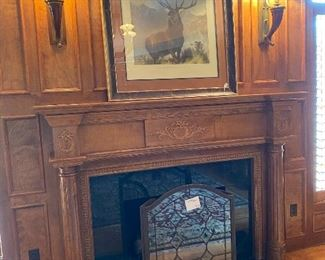 Fireplace Screen $250 Framed Deer  lithograph $450