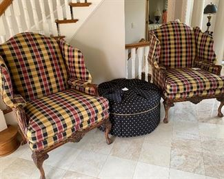 Custom Harden Sculpted Wing Chairs $2000 for pair Ottoman $380