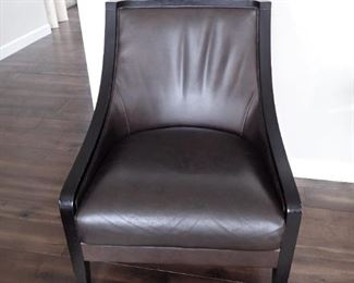LEATHER AND WOOD ACCENT CHAIRS