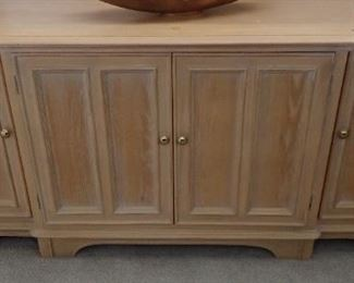 WASHED OAK CONSOLE - ALSO HAS A HUTCH TOP WITH GLASS DOORS