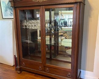 Very Nice Antique Display Cabinet with 2 lower drawers