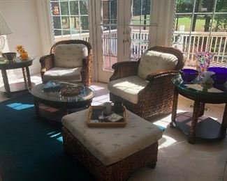 Set of 7, 2 chairs, 2 end tables, ottoman, coffee table and Sofa which is located in basement bedroom. You need this!