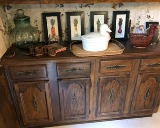 Built in cabinet but lots of kitchen treasures on and in it!!