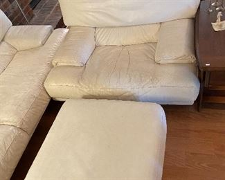 Matching club chair with ottoman.