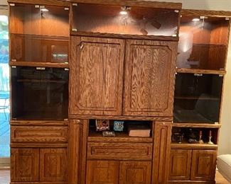 This 3 piece unit has great storage and built in lighting.