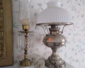 Many lamps and pair fireplace mantel sconces