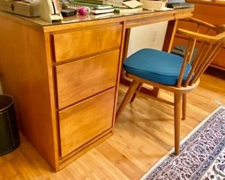 """7- $399Mid century modern Russell Wright forConant & Ball (1852) Birch desk & chair 38""""L x 43""""T x 18""""D"""