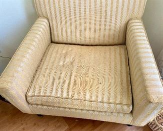 """17- $100 Mid century club chair with stripes 33""""L x 31""""H x 32"""" – condition well used."""
