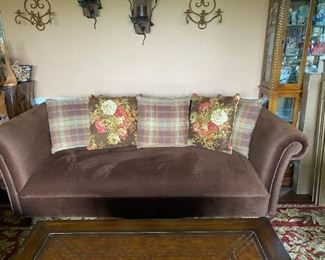 "Beautiful like new Ralph Lauren Brown Velveteen Sofa with 5 Ralph Lauren Pillows. 88"" long  41"" wide from back to front and 32"" high.  $390.00"