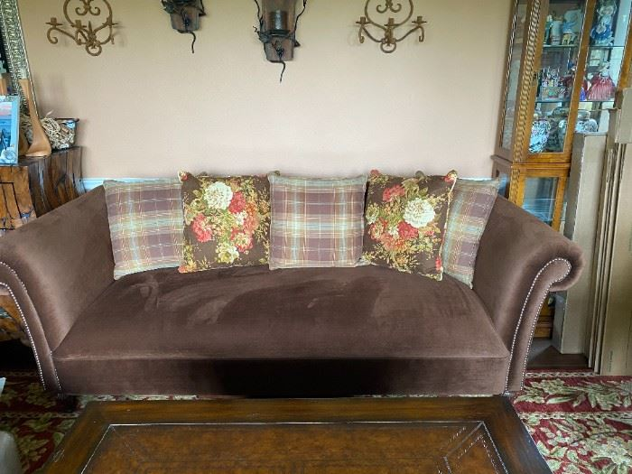 """Beautiful like new Ralph Lauren Brown Velveteen Sofa with 5 Ralph Lauren Pillows. 88"""" long  41"""" wide from back to front and 32"""" high.  $650.00"""