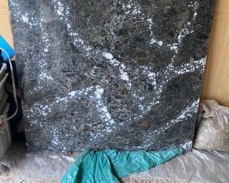 """Gorgeous 44"""" x 44"""" Cambria Quartz top. Very heavy.  Made in the USA.  This is from Cambria's Black Marble Collection. The design name is Ellesmere.  Can be used for an island top or vanity top, etc.  $150.00"""