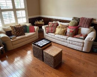 The white leather sofa and loveseat are not for sale.