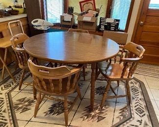 Table and 4 chairs one leaf 45.00