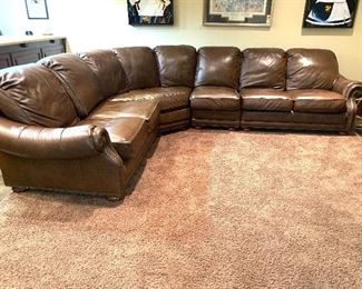 oversized brown leather sectional sofa