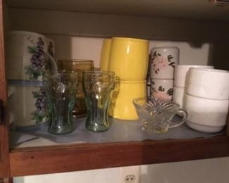 Set of flowered coffee cups (4); Small coke glasses in green; Yellow Mikasa coffee cups (4);  white set of 4 coffee cups.