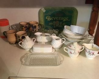 Kitchen - group of white swirl including gravy with under plate, butter dish with cover, matching sugar & creamer; vintage thermos; swirl bowls; vintage beverage tray; set of coffee ups (4); and another sugar bowl & creamer