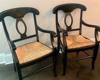 There are 6 of these rush-seat chairs (2 arms & 4 sides)