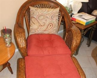 Pier 1 wicker chair with ottoman