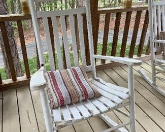Two wood rocking chairs for your porch.