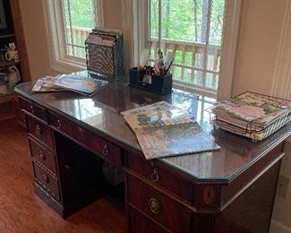 Embellished wood desk