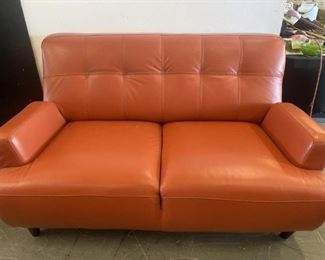 Milano Italy Orange Leather Love Seat!