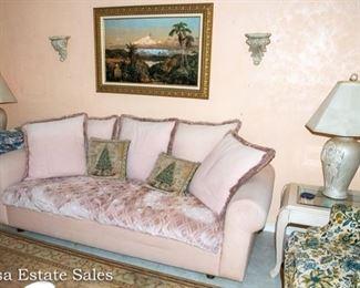 Mauve Sofa - End Tables - Lamps