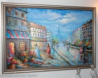 Beautiful Paris Street Scene Oil on Canvas
