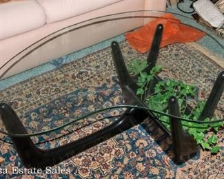 Mid Century Modern - Kidney Shaped Glass-top Coffee Table with Planter