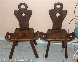 "Pair of Vintage / Antique  ""Birthing Stools"""