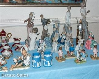 TABLES of Ceramic Figurines, including Lladros, Precious Moments, MORE