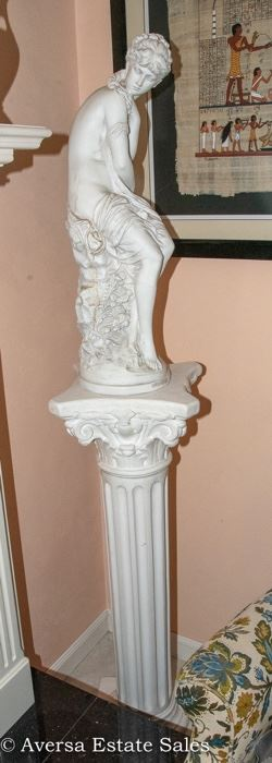 Pillar Plant Stand with Statue
