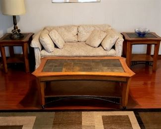 Loveseat, two end tables, coffee table & 8 x 14 rug
