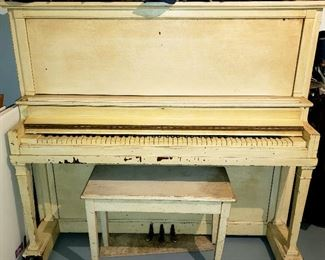 """FREE """"Iverson Pond - Established 1847"""" upright piano & bench. """"Topped"""" by hat collection"""