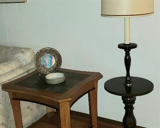 One of the pair of shelf end tables & table/lamp