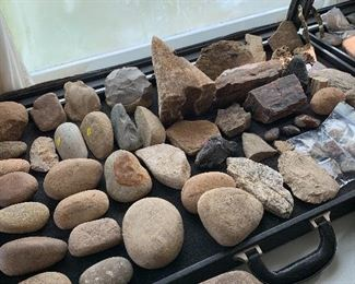 Arrow Heads, Axes, Cherts, and a scalpel, Firestarter stones, War Clubs, Polished Game Stones. ..