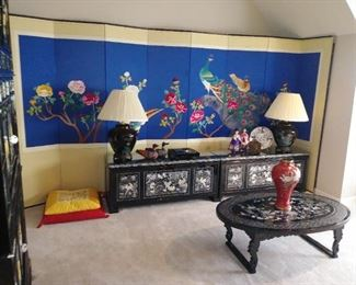 Stunning black lacquer oriental cabinets, etc