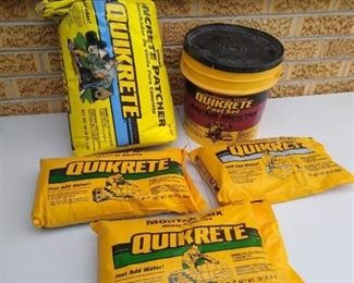 (3) 10lb Quikrete bags, 40lb Quikrete concrete patcher & tub of Quikrete fast set repair mortar