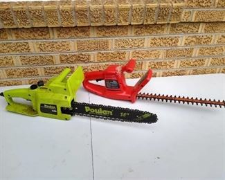"""Poland pro 14"""" electric chainsaw & Black & Decker hedge trimmer 16"""" electric works (broken handle)"""