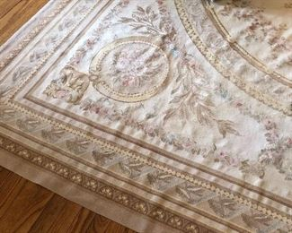 View of French hand-knotted needlepoint rug - 9 x 12