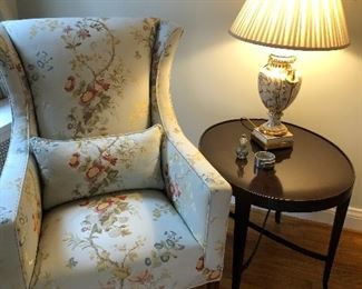 Armchair - set of 2, Baker side table - set of 2, and porcelain lamp