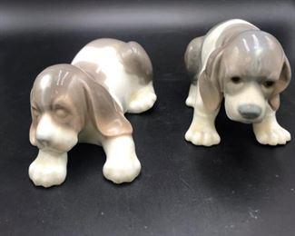 Lladro #1072 Sleepy Beagle & #1071 Sad Puppy