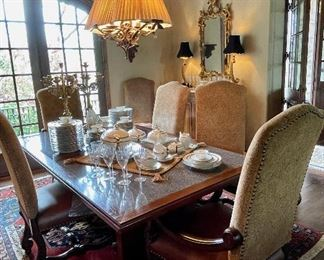 High-Back Upholstered Chairs, Granite-Inset Table, Bavarian China, French Gilt Mirror, Hanging Fixture