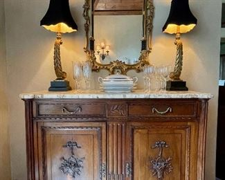 Antique Marble-Top Louis XVI Buffet. 50 x 48.5 x 18. Gilt French Mirror.  Buffet Lamps.  See at StubbsEstates.com